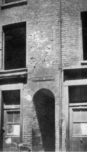 Typical Housing of old London - narrow entrances to courtyards were a feature of East End London and feature in 'A Secret Step' a novel covering Jack the Ripper and the Blitz