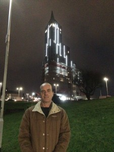 Plymouth born author Ian Parson at the new student tower blocks in Plymouth City Centre