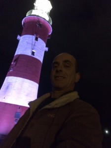 Plymouth born author Ian Parson at the world famous Smeatons Tower