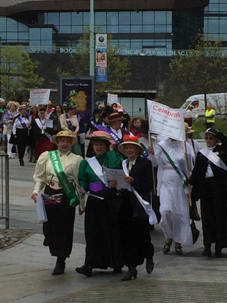 In 2018 a group of women marched through Plymouth city centre to commemorate the Suffragettes. 'Let us never forget those who suffered so that others might benefit' photo:Ian Parson